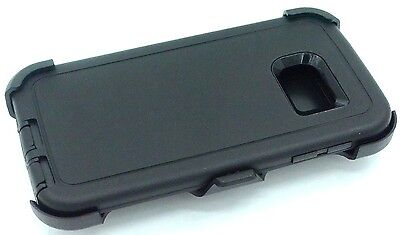 For Samsung Galaxy S6 Edge Defender BLACK Case Cover [Belt Clip Fits Otterbox]