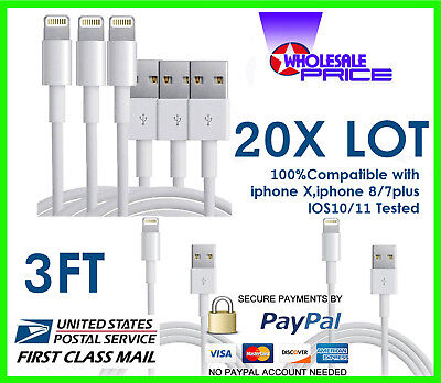 20X Lot 3FT USB Data Sync Charging Cable Cord Compaible With iPhone 5/6S/7 PLUS