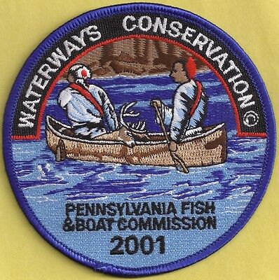 """Pa Pennsylvania Fish Commission NEW 2001 Waterways Conservation 4""""Cloth Patch"""