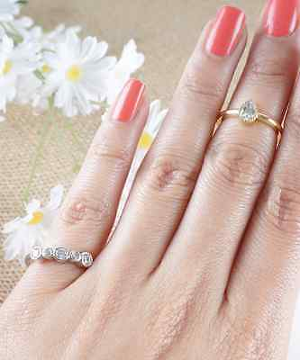 Crystal Midi Ring, Double Knuckle Ring, Two Way Ring Teardrop Crystal Silver or