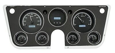 67-72 Chevy Truck C10 Dakota Digital Black Alloy & White VHX Analog Gauge Kit