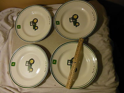 Set Of 4 John Deere Licensed Dinner Plates 11 1/8 Inches By Gibson Tractor Large