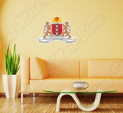 """Amsterdam Coat Of Arms Netherlands Flag Wall Sticker Room Interior Decor 25""""X22"""""""