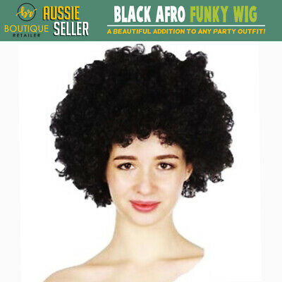 DELUXE JUMBO BLACK AFRO WIG Costume Party Fancy Curly Hair Disco Dress 70s 80s