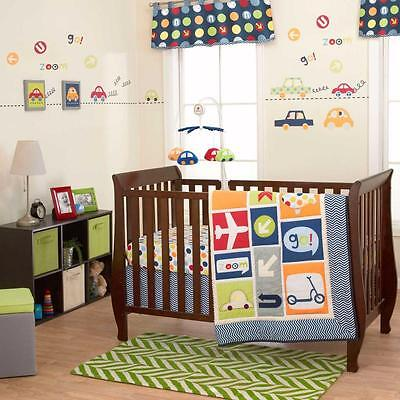 10pcs Boys World Baby Bedding Crib Cot Quilt Bumpers Sheet Car Transport New