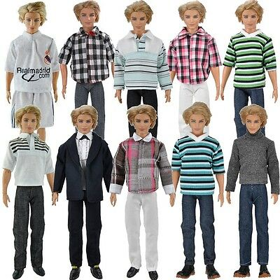 E-TING 3 Set Casual Wear Shirt Pants Trousers Clothes For Barbie Ken Doll K