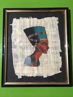 Hand Painted Small Egyptian Painting On Papyrus Or Parchment Paper Signed Framed