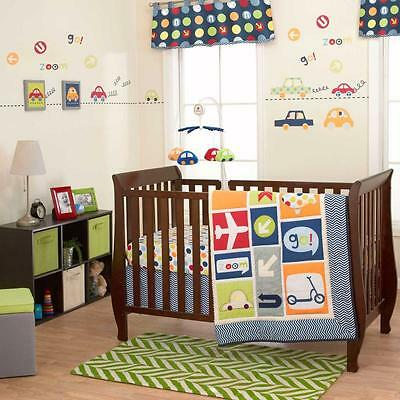 8pcs Boys World Baby Bedding Crib Cot Quilt Bumpers Sheet Mobile US Brand New