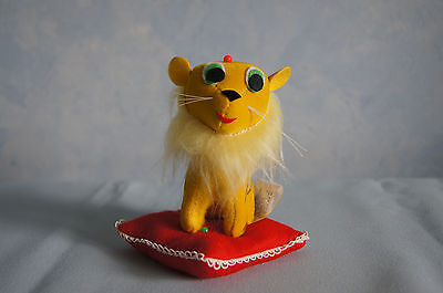 Playful Animal pincushion 1960's plush lion on red pillow Sakai NOS