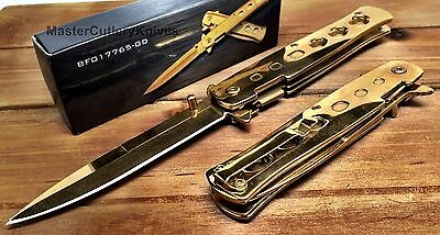 Spring Assisted Asst STILETTO Milano God FatherStyle Pocket Knife with Clip Gold