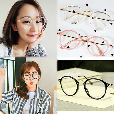 HOT Geek Nerd Retro Costume Round Retro Large Metal Frame Clear Lens Eye Glasses