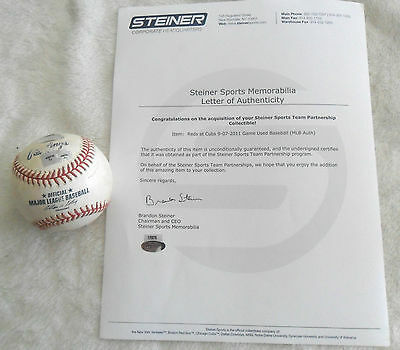**MATCH USED** REDS Vs CUBS OFFICIAL MLB BASEBALL WRIGLEY FIELD 2011 STEINER