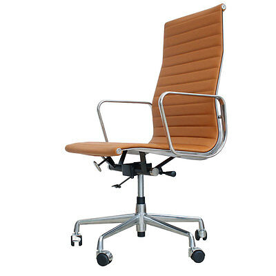 Eames Inspired High Back Office Chair EA119 Tan Leather