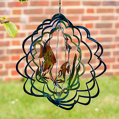Non Rust Metal Tropical Fish Windspinner - NEW Wind Spinner Sun Catcher