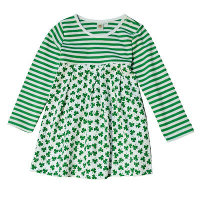 White And Green Striped Kids Dress With Green Shamrock Pattern