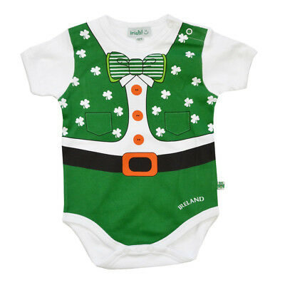 Full Leprechaun Baby Vest With a Shamrock and Bow Tie Design