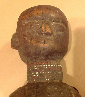 Antique African Tribal Carved Figural Statue Wood Beaded Leather OLD  Sculpture