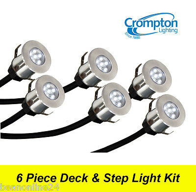6 Piece LED Deck & Step Light Kit DIY Stainless Steel - Complete Kit!