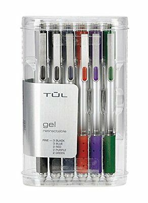 TUL Retractable Gel Pens 0.5 mm Fine Point, Assorted 12/pk