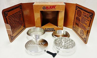 RAW Rolling Papers 4 Piece Diamond Cut Super Shredder Grinder Aircraft Aluminum