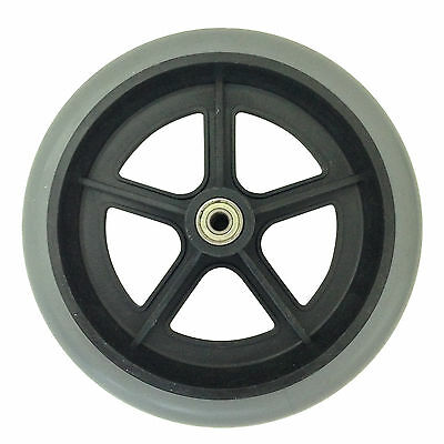 """NEW 200mm 8"""" GREY RUBBER SMALL NON MARKING WHEELCHAIR WHEEL REPLACEMENT 20cm"""