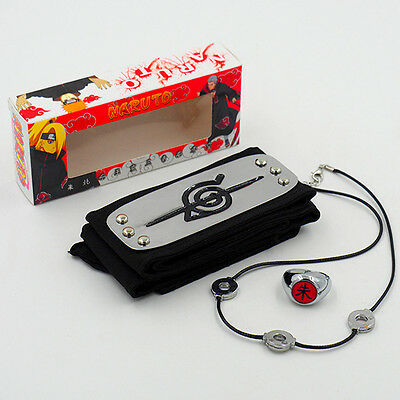 Anime Naruto Uchiha Itachi Pendant Necklace +Zhu Ring+Headband Cosplay 3Pcs/set