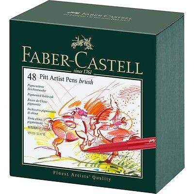 Faber Castell India Ink Pitt Brush Artists Pen Gift Box Set of 12 - 24 - 48