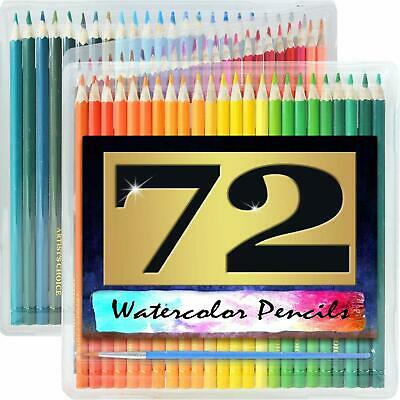 "Watercolor Pencils - Huge 72 Pack - 7"" Water Soluble - Paint Brush - Carry Case"