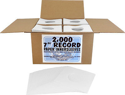 "(2000) 7"" Record Inner Sleeves - White ARCHIVAL Paper ACID FREE 45rpm - #07IW"