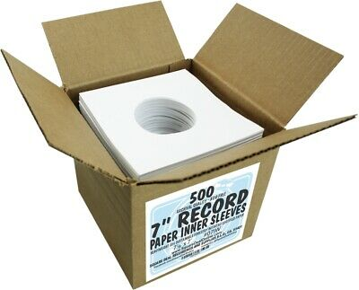"""(500) 07IW 7"""" White Paper Record Inner Sleeves ACID FREE 45 RPM ARCHIVAL Covers"""
