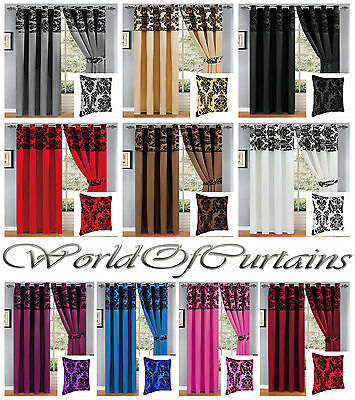 Luxury Damask Flocked Eyelet Curtains Ring Top Fully Lined With Free Tie Backs