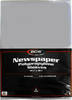 "(50) BCW-SSLV-NP-14X19 Newspaper Bags Covers Sleeves 14 1/8"" x 19 1/8"" Protect"