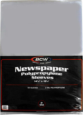 "(100) BCW SSLV-NP-14X19 Newspaper Bags Covers Sleeves 14 1/8"" x 19 1/8"" Protect"
