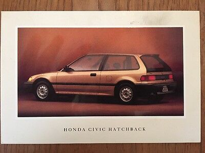 1990 Honda Civic Hatchback Factory Postcard mx8623