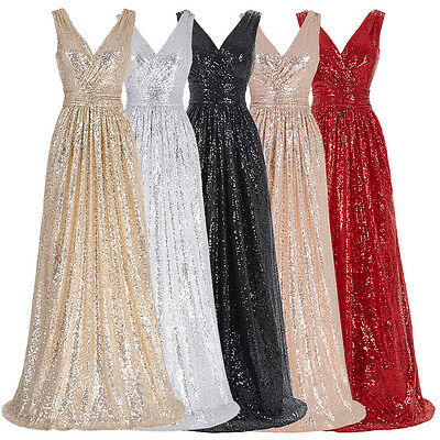 Sexy Sequins Long Evening Formal Party Dresses Pageant Bridesmaid Ball Prom Gown