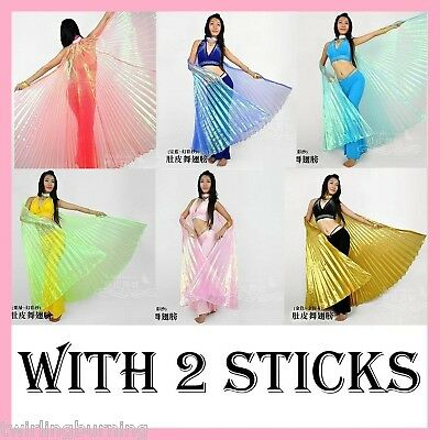 Belly Dance Isis Wings 【with 2 Wooden Sticks】Sheer Dancing Costume AA01