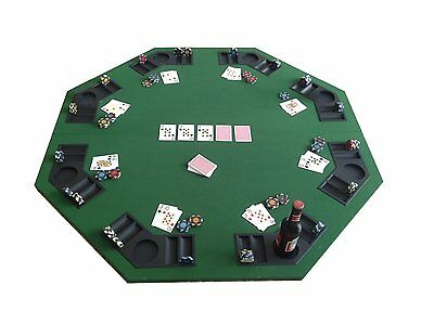 "48"" Folding Poker Blackjack Tabletop Seat 8 Octagon Pad w/ Holders Carrying Case"