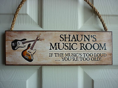 Own Name Music Room Sign Own Wording Bass Guitars Acoustic Electric Guitars Gift