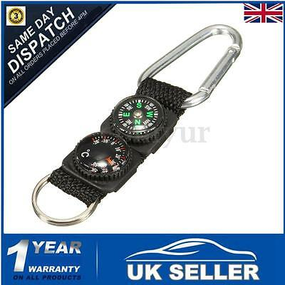 Mini 3-in-1 Carabiner Key Ring Key Compass & Thermometer Hiking Travel