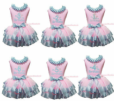 My 1ST 2ND 3RD Birthday Pink Top Bling Blue Satin Trim Skirt Girls Outfit NB-8Y