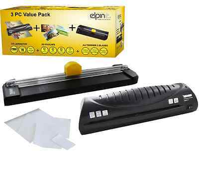 3Pc A4 Hot Laminator Laminating Machine + Trimmer +50 Pouches Home Office Cutter