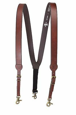 CHRISTMAS SALE! Western Men's Nocona Hdx Smooth Leather Suspenders Brown - Large