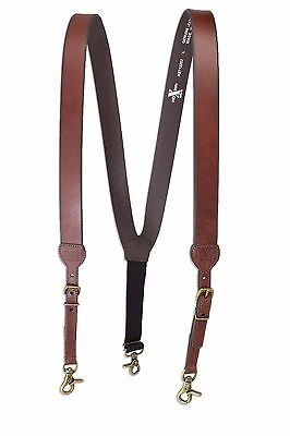 Western Men's Nocona Hdx Smooth Leather Suspenders Brown - Large