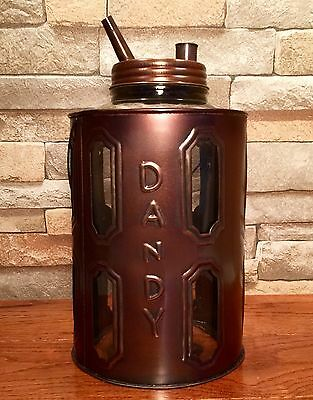 Tin Metal Dandy Kerosene Oil Vintage Glass Jug Container Can