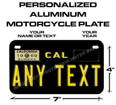 California Any Text Custom Personalized State Motorcycle License Plate Tag New