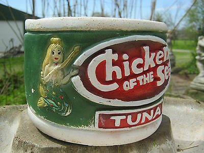 Vintage Terra Cotta  Chicken Of The Sea Advertising Planter Very Cool