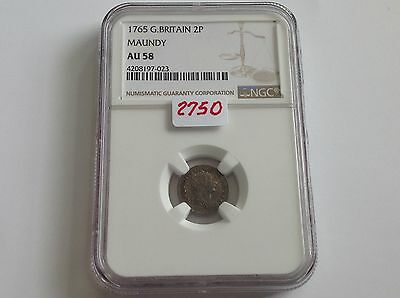 1765 Great Britain 2P Maundy NGC AU 58 10 to 20 Pieces Known!!!!