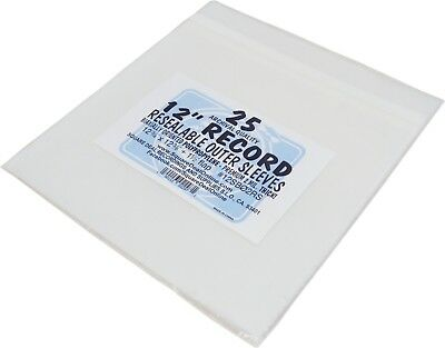 """(25) 12SB02RS 12"""" SUPER CLEAR Resealable 2mil Record Outer Sleeves Vinyl Bags"""