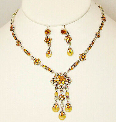 """Crystal Creations 17"""" Gold Crystal Enamel Floral Silver Plate Jewelry Set New"""