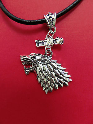 """UNISEX Game of THRONES Winter is Coming + WOLF Pendant w/18-22"""" Leather Necklace"""